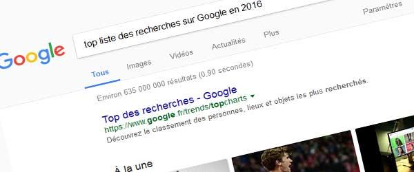 top recherche google 2016