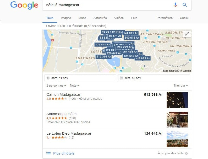 référencement local google snack pack de google